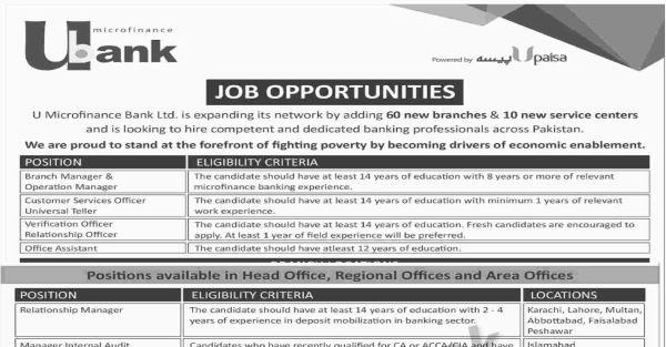 U Bank Jobs 2019