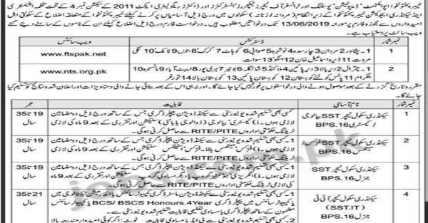 Education Department KP Jobs 2019 for 1000+ Secondary School