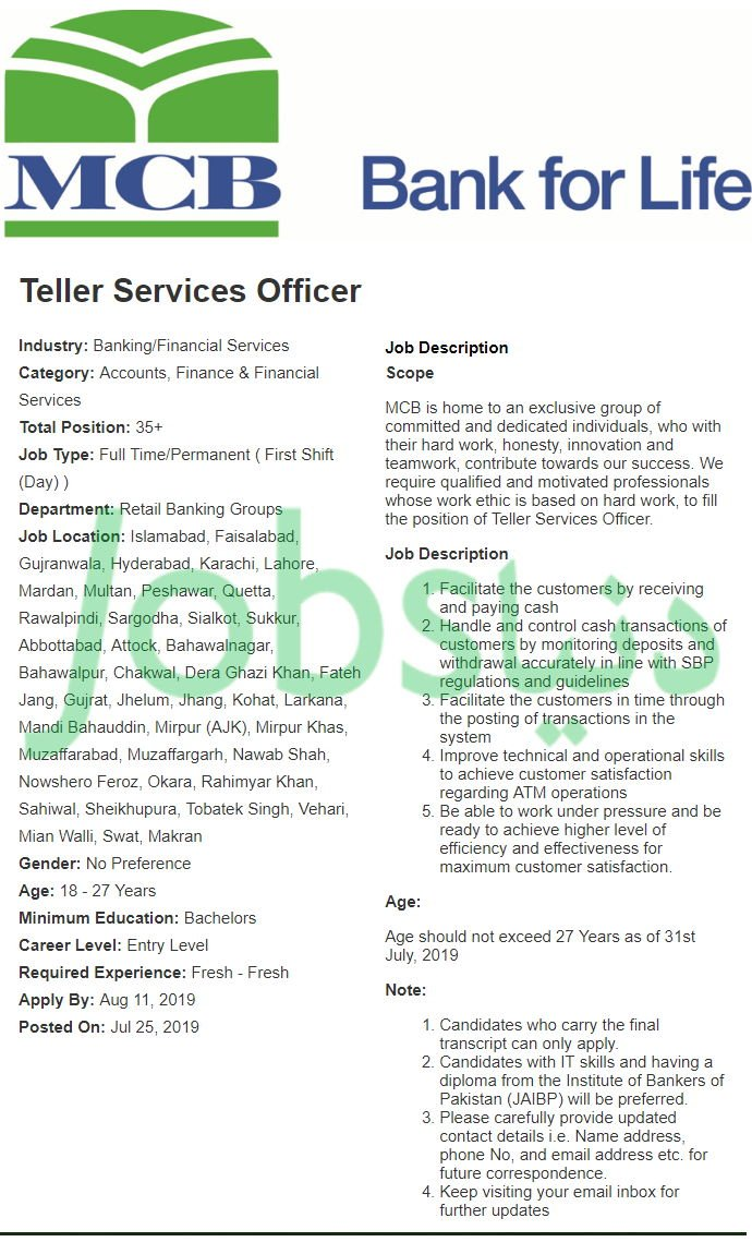 Mcb Bank Jobs 2019 For 100 Teller Services Officer All
