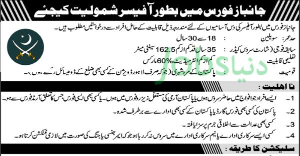 Join Pakistan Army as Officer in Janbaz Force (September